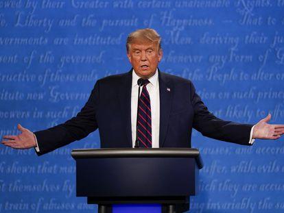 Trump, durante un momento del debate presidencial de EE UU.