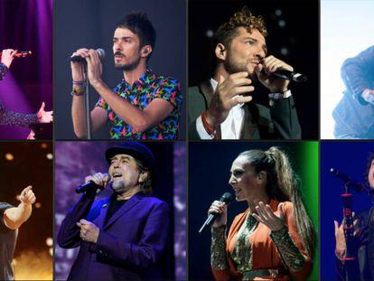De izquierda a derecha, arriba: Malú, Pucho (Vetusta Morla), David Bisbal y Salti Balmes (Love of Lesbian). Abajo: Pablo Alborán, Joaquín Sabina, Mónica Naranjo y Bunbury.