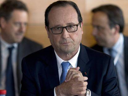 El presidente francés, François Hollande en la Gran Conferencia Social inaugurada el lunes en París