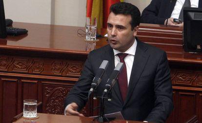 El primer ministro macedonio, Zoran Zaev, este miércoles en el Parlamento de Skopje.
