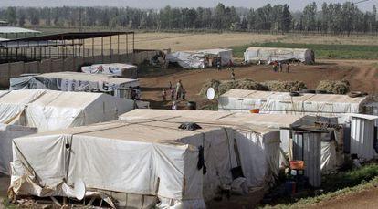 Refugiados sirios en la frontera con Líbano el 19 de junio.