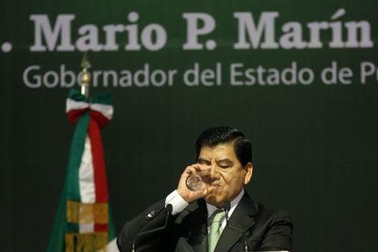 Mario Marín Torres, durante su último informe de labores como gobernador de Puebla, en el Enero de 2011.
