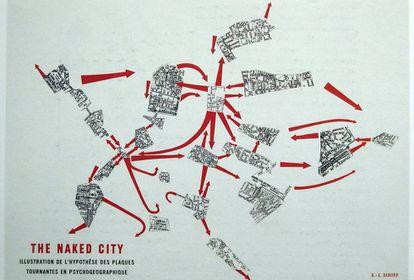 Mapa psicogeográfico de París diseñado por Guy Debord para la Internacional Situacionista.