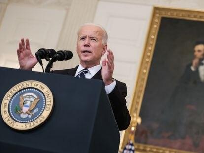 El presidente de Estados Unidos, Joe Biden, durante una comparecencia de prensa.