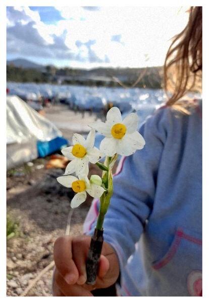 Qutaeba, refugiado sirio del campo, manda fotos de flores porque le sirven para olvidarse de su realidad.