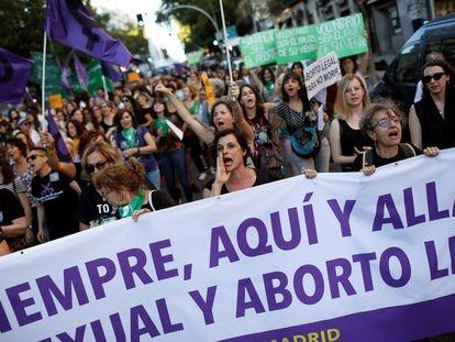 Manifestación en Madrid, en 2019, por el Día Internacional por la Despenalización del Aborto y la Defensa de los Derechos Sexuales y Reproductivos de las mujeres.