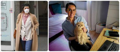 Belén, a la izquierda tras una visita al hospital durante el confinamiento y, a la derecha, este diciembre con su gato Milú.