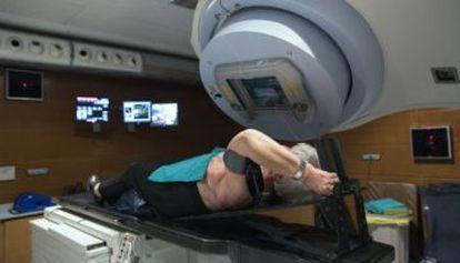 Una paciente sometida a radioterapia.