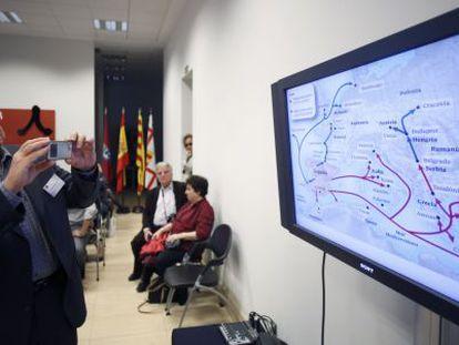 Mapa con las migraciones sefardies expuesto en el congreso organizado por la casa de Israel en Ávila el pasado 30 de abril.