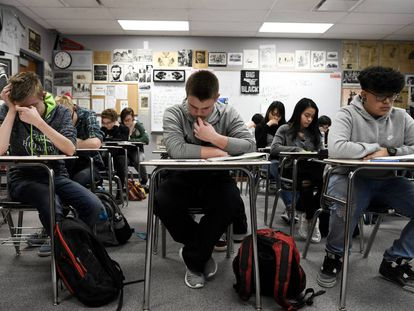Estudiantes en un instituto en Pomona, el pasado mes de febrero.