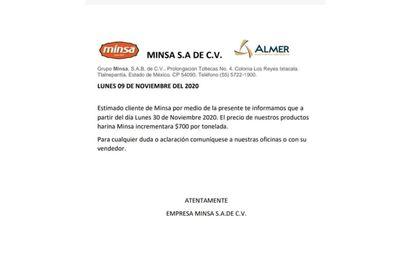 Comunicado de la empresa Minsa sobre el precio de la tortilla.