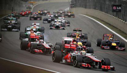Imagen de la salida en el circuito de Interlagos.