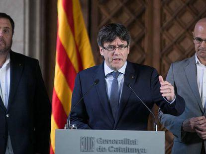 De izquierda a derecha, Oriol Junqueras, Carles Puigdemont y Raül Romeva, el pasado 13 de marzo.