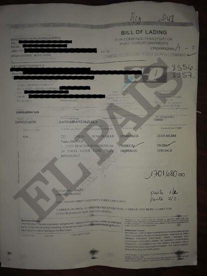 Documento de aduanas sobre los desembarques de la empresa mexicana Libre Abordo en Venezuela.