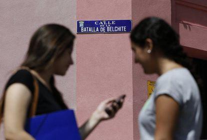 Calle de la Batalla de Belchite, entre las travesías de Tomás Bretón y de Alicante, en el barrio de las Delicias.