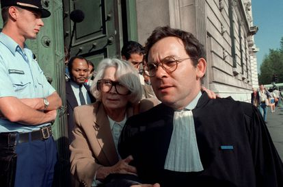 Fernande Grudet, better known as Madame Claude, arriving at the Palace of Justice in Paris in September 1992.