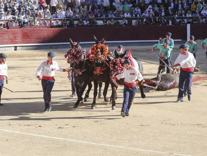 Tiro de mulillas de la plaza de Las Ventas.