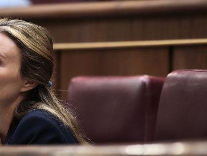 Andrea Fabra en su escaño del Congreso.