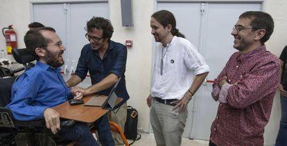 De izquierda a derecha, Pablo Echenique, José María González, Pablo Iglesias y Juan Carlos Monedero, el pasado julio.