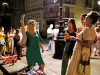 Tourists and locals gather on a street in the Born neighborhood, as indoor nightlife venues were shut again by Catalonia's regional government in a bid to stop the increase of COVID-19 cases in Barcelona, Spain, July 10, 2021. Picture taken July 10, 2021. REUTERS/Nacho Doce