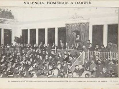 Imagen del homenaje a Darwin celebrado en la Universitat de València en 1909, publicada en la revista Actualidades