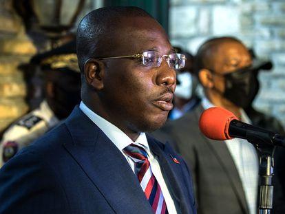 Claude Joseph, primer ministro interino de Haití, durante una conferencia de prensa, el pasado 11 de julio.