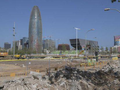 Obras de la plaza de Les Glòries en Barcelona.