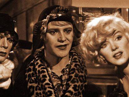 Tony Curtis, Jack Lemmon y Marilyn Monroe, en 'Con faldas y a lo loco'.