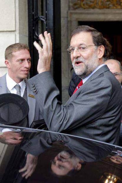 Rajoy, tras un encuentro informativo en Madrid.