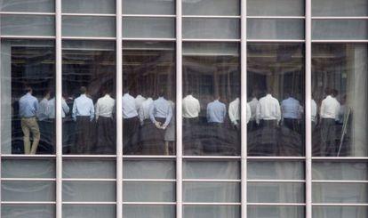 Reunión de los empleados de Lehman Brothers en noviembre de 2008.