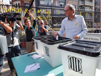 El 'president' de la Generalitat, Quim Torra, durante la conmemoración del primer aniversario del 1-O, en 2018.