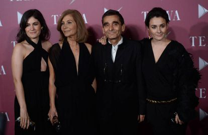 Valeria Domínguez, Elena González, Adolfo Domínguez y Adriana Domínguez en los Premios Telva en 2014.