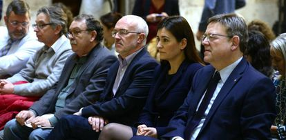 El presidente de la Generalitat, Ximo Puig, la consejera de Sanidad, Carmen Montón, y el líder de Podemos, Antonio Montiel.