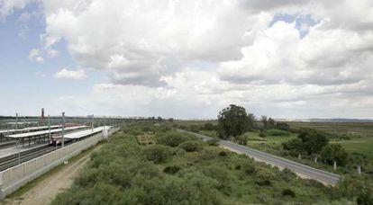 Vista de la zona de las Aletas, terrenos ubicados en la Bahía de Cádiz.