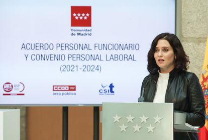 Isabel Díaz Ayuso, el 21 de abril, en un acto en Madrid.