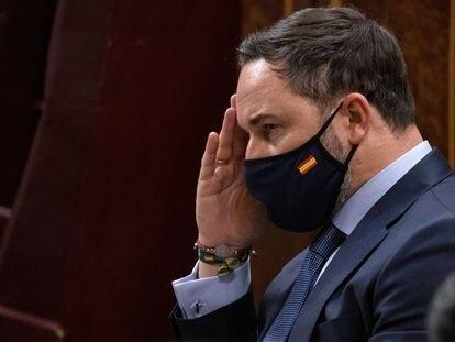 Santiago Abascal, presidente de Vox, durante el debate de su moción de censura, el pasado día 22 en el Congreso.