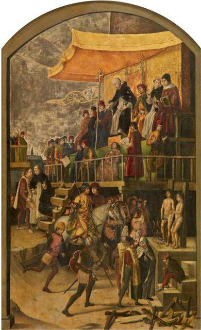 'Auto de Fe presidido por santo Domingo de Guzmán' (1493-1499). Pedro Berruguete