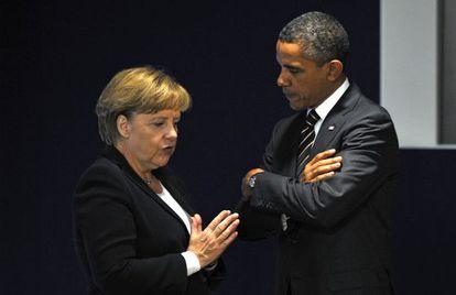 Merkel y Obama en la cumbre del G-20 en noviembre de 2011.
