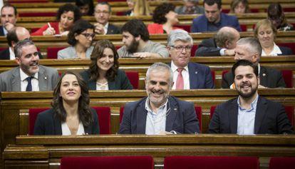 De izquierda a derecha, los diputados de Ciudadanos Ines Arrimadas, Carlos Carrizosa y Fernando del Páramo.