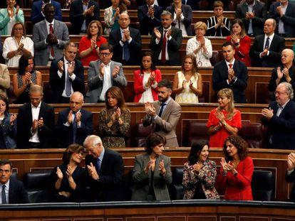 El presidente del Ejecutivo en funciones, Pedro Sánchez,  este miércoles en el hemiciclo del Congreso.