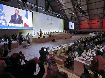 El presidente de Estados Unidos, Barack Obama, durante su discurso en la cumbre del clima de París.