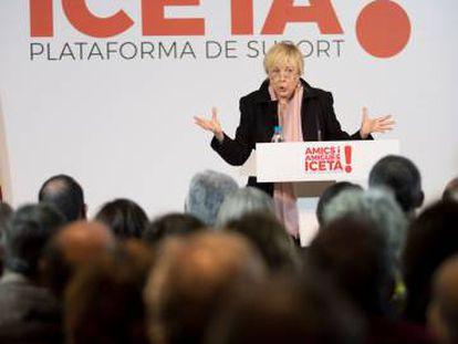 La actriz Rosa María Sardà durante el acto de presentación de la plataforma de apoyo al candidato del PSC, Miquel Iceta.