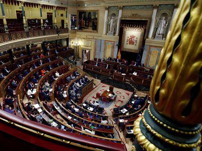 Vista del hemiciclo durante la intervención del presidente del Gobierno, Pedro Sánchez.