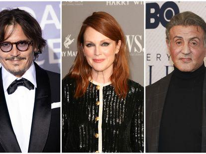 Los actores Johnny Depp, Julianne Moore y Sylvester Stallone.