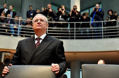 El antiguo jefe de Volkswagen, Martin Winterkorn, en el Bundestag, donde declaró por el escándalo de emisiones, en 2017.