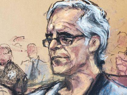 Jeffrey Epstein durante la vista sobre la fianza