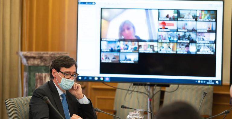 El ministro de Sanidad, Salvador Illa, preside por videoconferencia la reunión del Consejo Interterritorial del Sistema Nacional de Salud del pasado 1 de octubre.