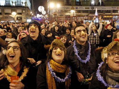 Primer ensayo de las campanadas de Nochevieja en la Puerta del Sol de Madrid en el año 2010.