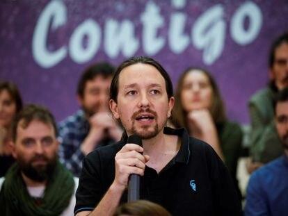 El líder de Podemos, Pablo Iglesias, este domingo en un acto público.