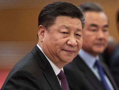 El presidente chino, Xi Jinping, durante su reunión con el presidente de Alemania.
